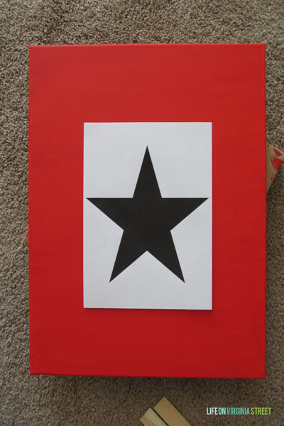 Red and White Christmas Star Art.