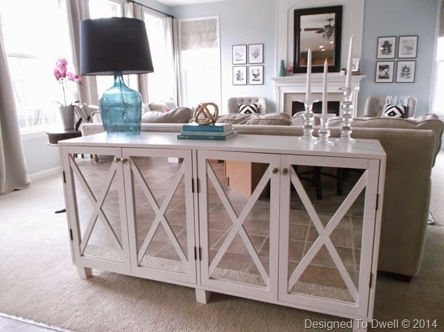 Pretty preppy party november features life on virginia street - Sofa table with cabinets ...