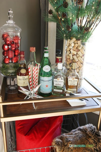 Christmas 2014 Home Tour - Life On Virginia Street - Bar Cart Details