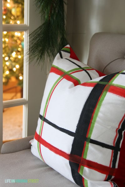 Christmas 2014 Home Tour - Life On Virginia Street - Brushstroke Plaid Pillow