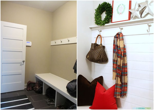 Mudroom Progress Before and During Christmas