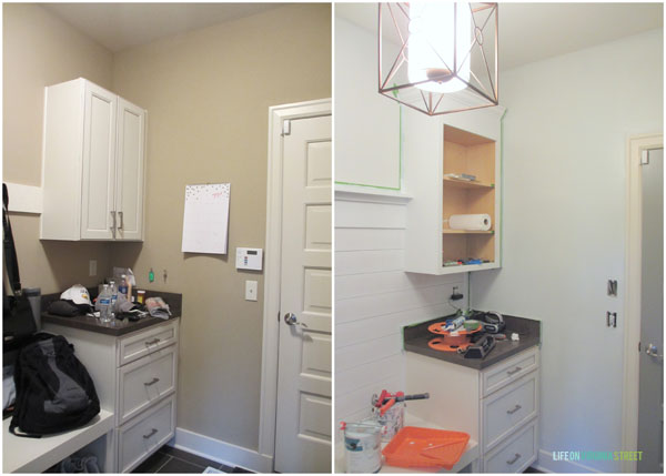 Mudroom Progress Before and During