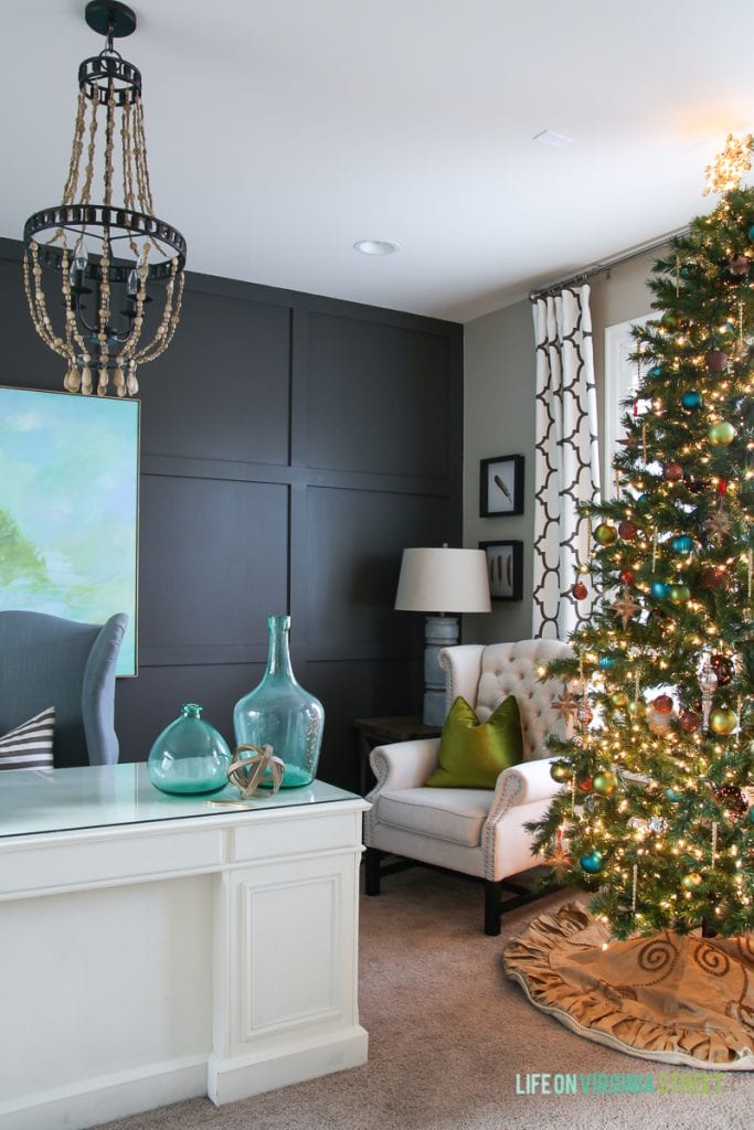Blue, Green and Metallic Christmas decorations in a home office. Wall color is Sherwin Williams Urbane Bronze.