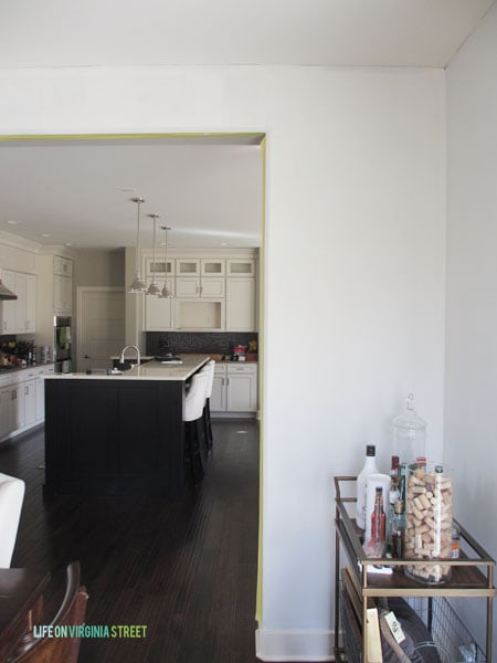 Here's how the dining room paint will look when contrasted with the kitchen island.