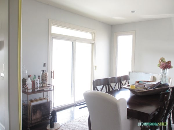 This is the dining room as seen from the kitchen with the new silver drop paint.