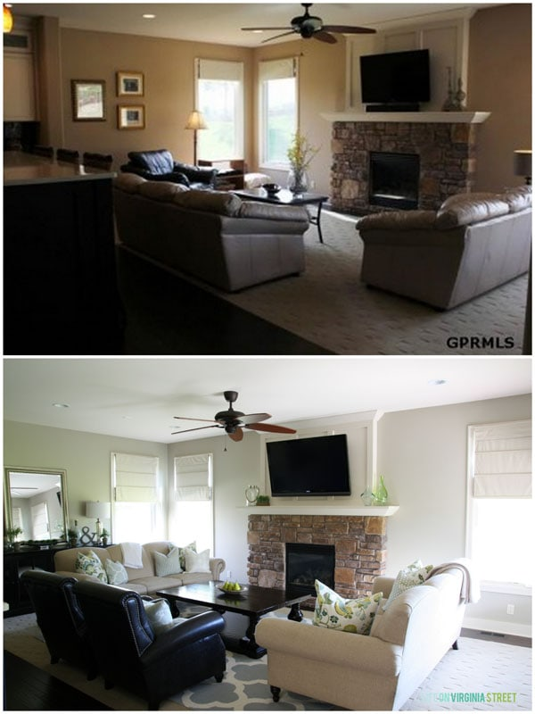 A dark living room with ceiling fan and second picture with the fan removed.