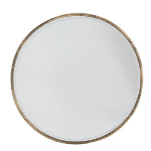 This gilt minimalist mirror is perfect for any space.