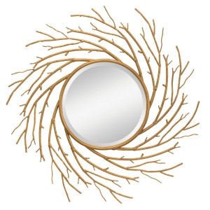 Stunning branch and twig motif makes this round mirror stand out.