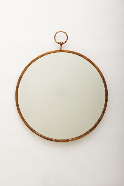 Hanging round gold-toned mirror: Simple Hoop Mirror.