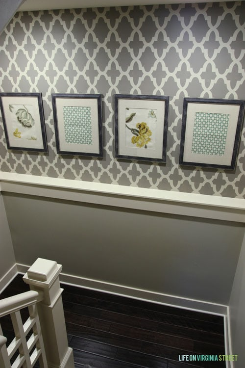 Basement Staircase Stencil Makeover - Life On Virginia Street