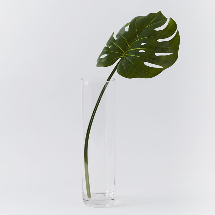 A single stem of palm in a vase with water.