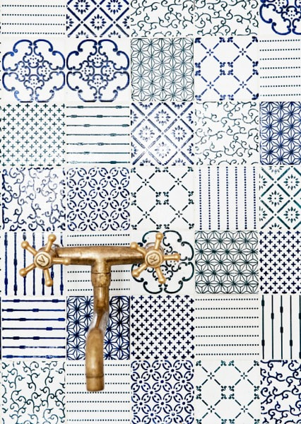 Blue and white concrete tile with many different patterns.