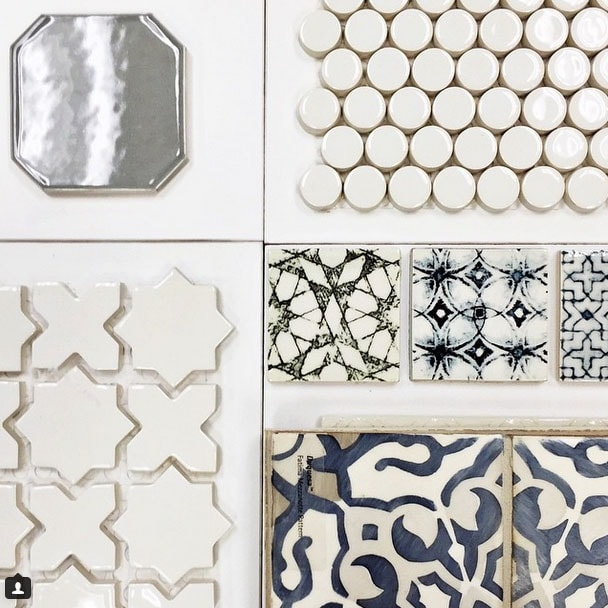 Here are some of the non-traditional tiles I'm loving right now! Blue and white concrete tile, round tile, metal tile.