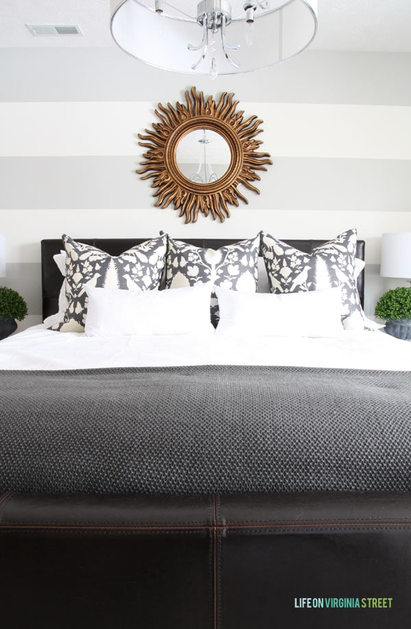 Guest Bedroom Designer Pillows and Perfectly Painted Striped Walls. - Life On Virginia Street