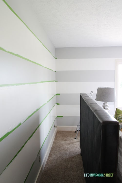 How To Achieve Perfectly Striped Walls - Here's what the paint stripes will look like once you finish! - Life on Virginia Street