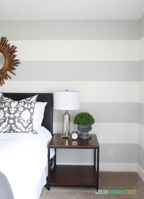 How To Achieve Perfectly Striped Walls - Floor to Ceiling Stripes - Life on Virginia Street