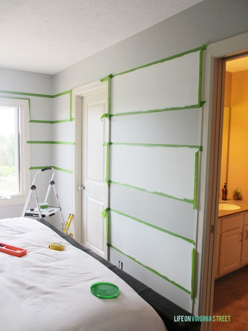 Here's how to tape your stripes to achieve perfectly painted striped walls. Life on Virginia Street