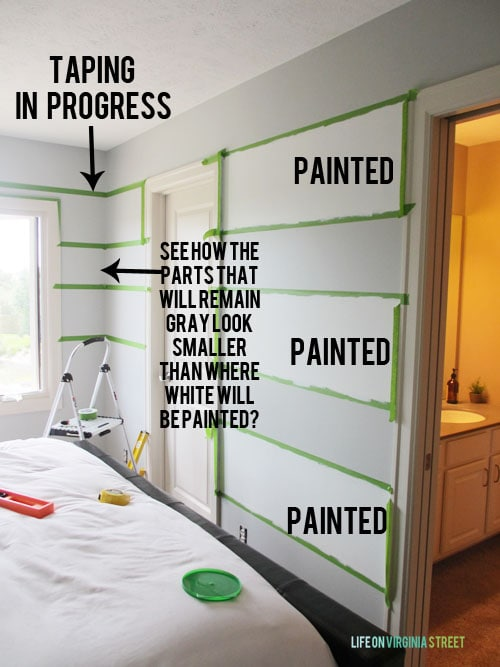 How To Paint Striped Walls - How to Tape so your lines are perfect! - Life on Virginia Street