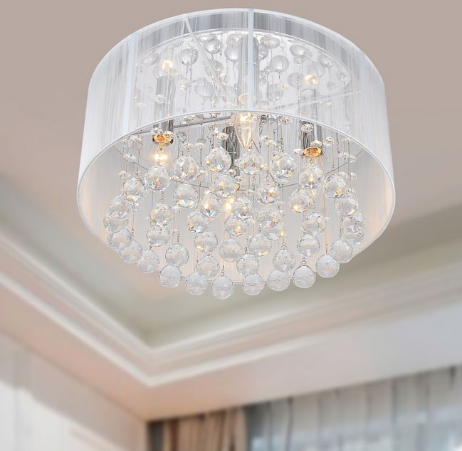 {Flushmount Chrome and Crystal Chandelier}