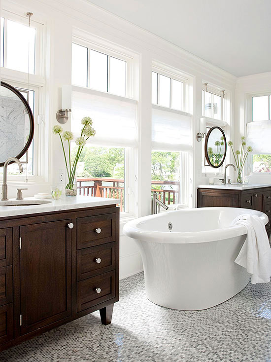 Light and Bright Gray Bathroom with Wood Cabinets