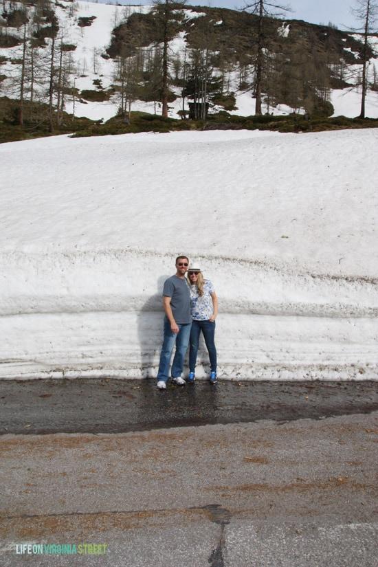 A snowy drive through the Alps.