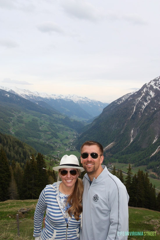 A couple photo overlooking Heiligenblut am Großglockner.