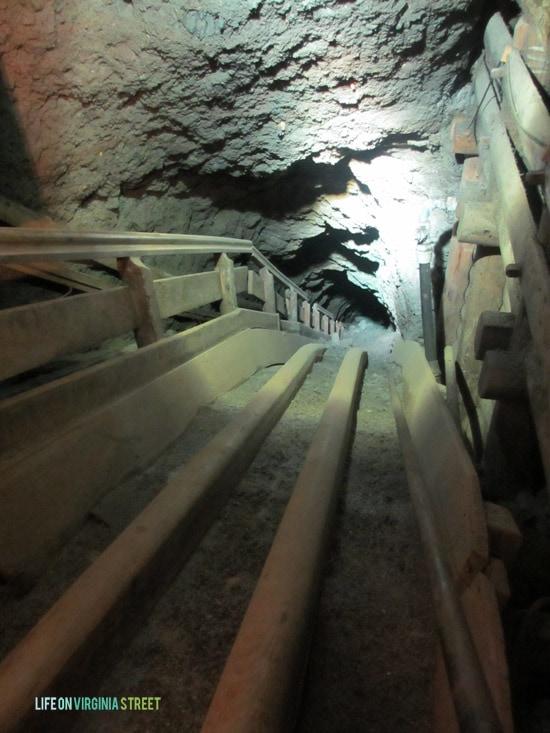 Journeying underground during our Salzburg salt mine tour in Austria.