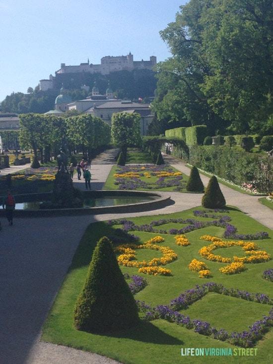 Beautiful view of the Salzburg gardens.