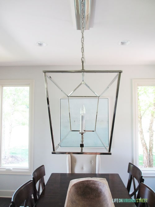 This is the new Dining Room Chandelier we chose after much deliberation. I love the industrial but elegant look! - Life On Virginia Street