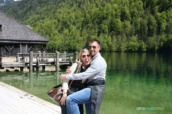Getting silly during our Lake Königssee couples photo in Germany.