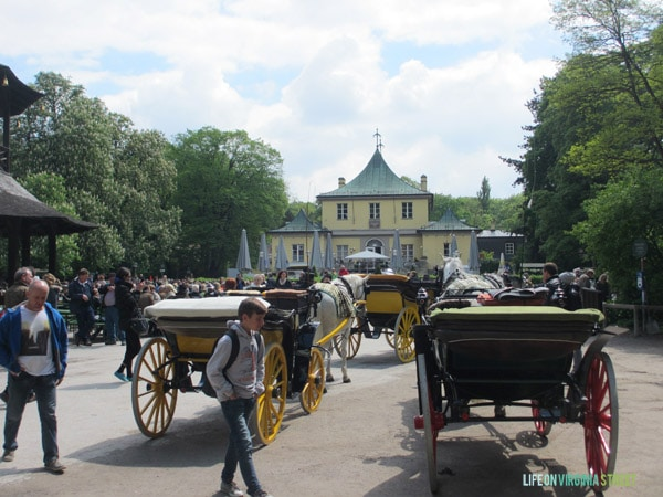 Carriages at the beer garden in Munich.