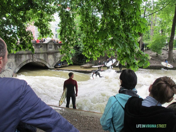 Check out the river surfing in Munich! Wow!