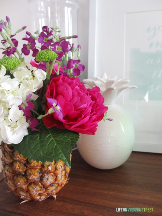 Pineapple Vase on Bar Cart - Life On Virginia Street