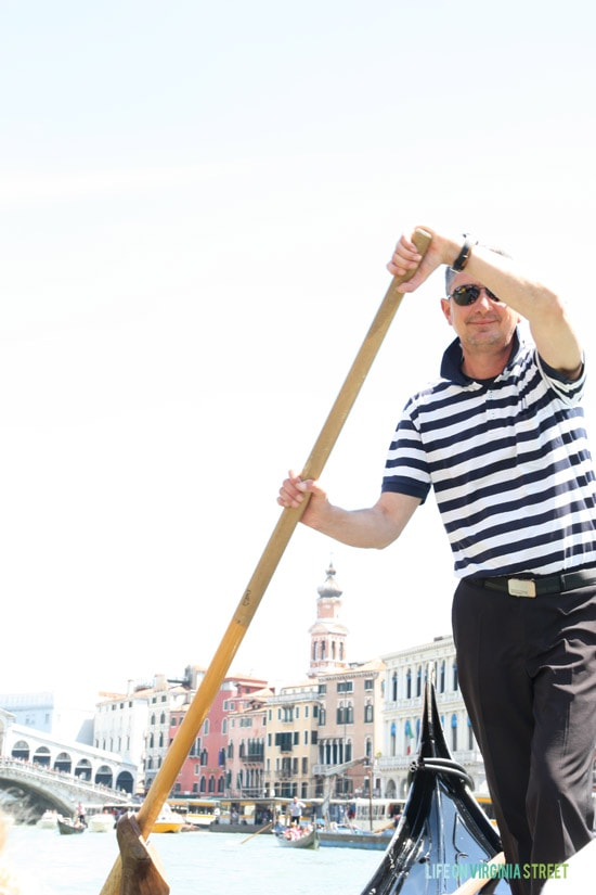 Our Gondolier in Venice.