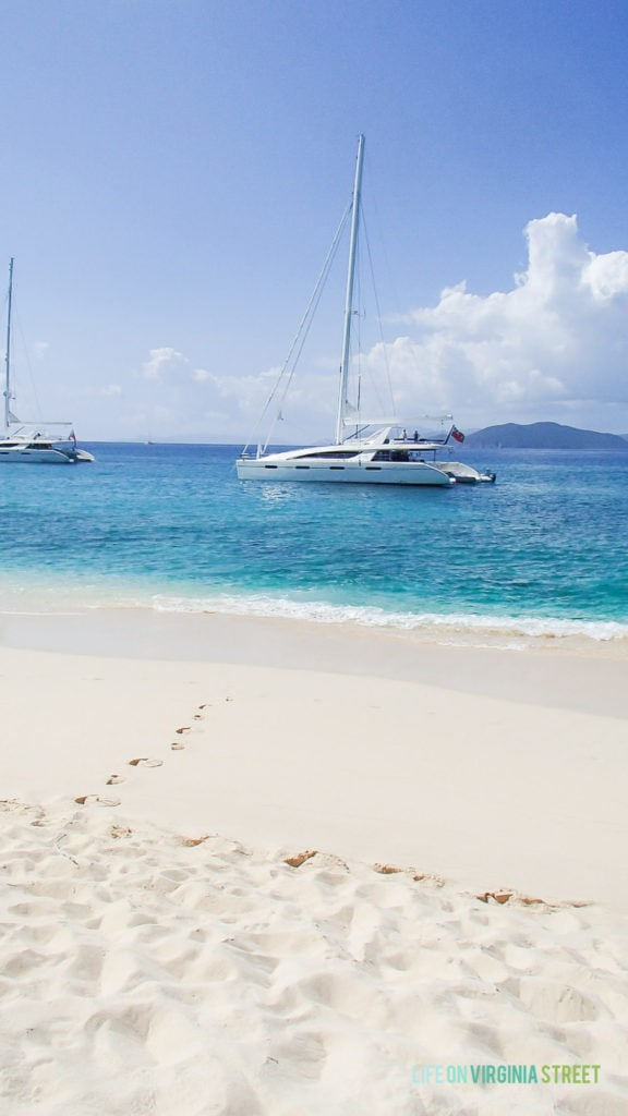 Sailing the British Virgin Islands on a luxury catamaran.