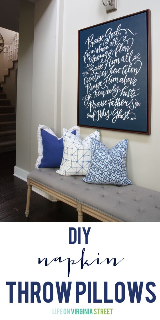 Diy Throw Pillow Instructions : DIY Napkin Pillows - Life On Virginia Street