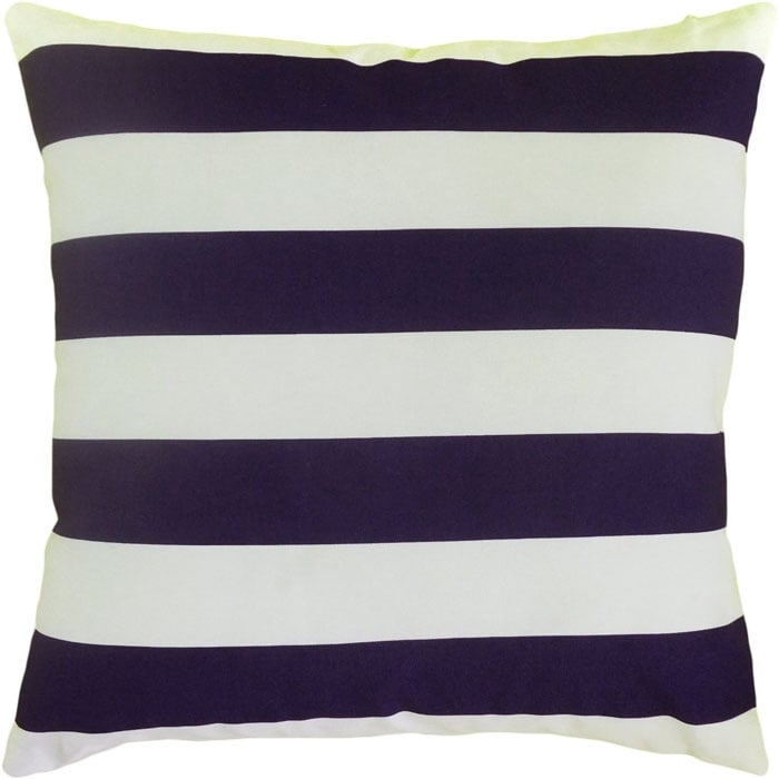 {Navy Striped Pillow}