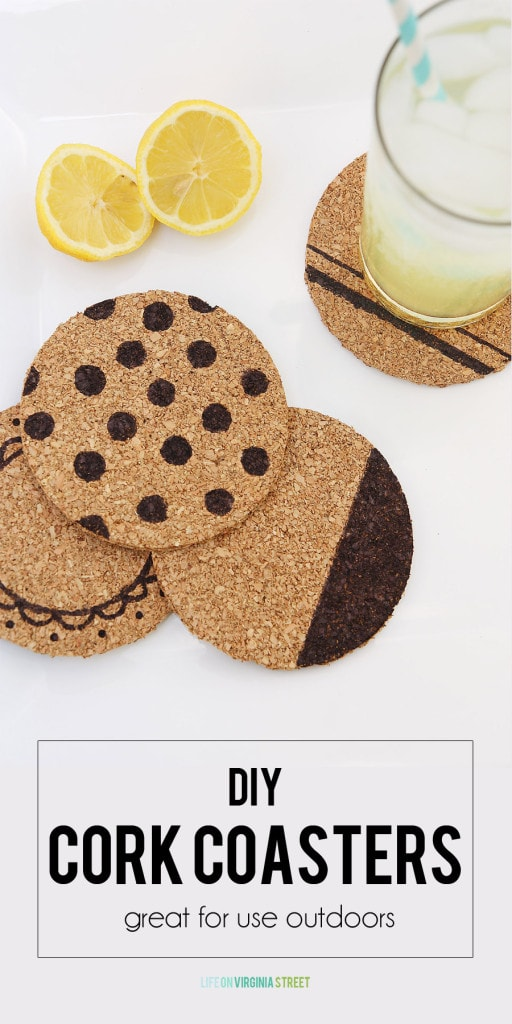 DIY Cork Coasters - Great for Use Outdoors! - via Life On Virginia Street