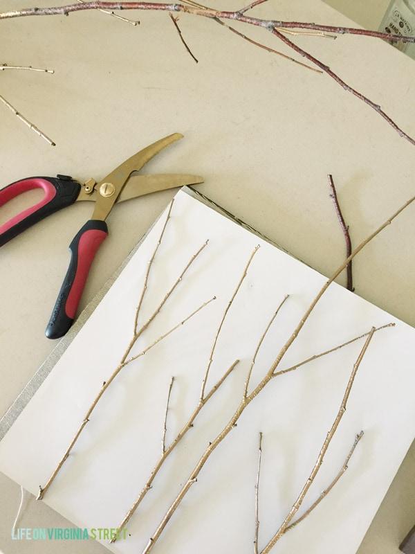DIY Gold Stick Art process - Life On Virginia Street