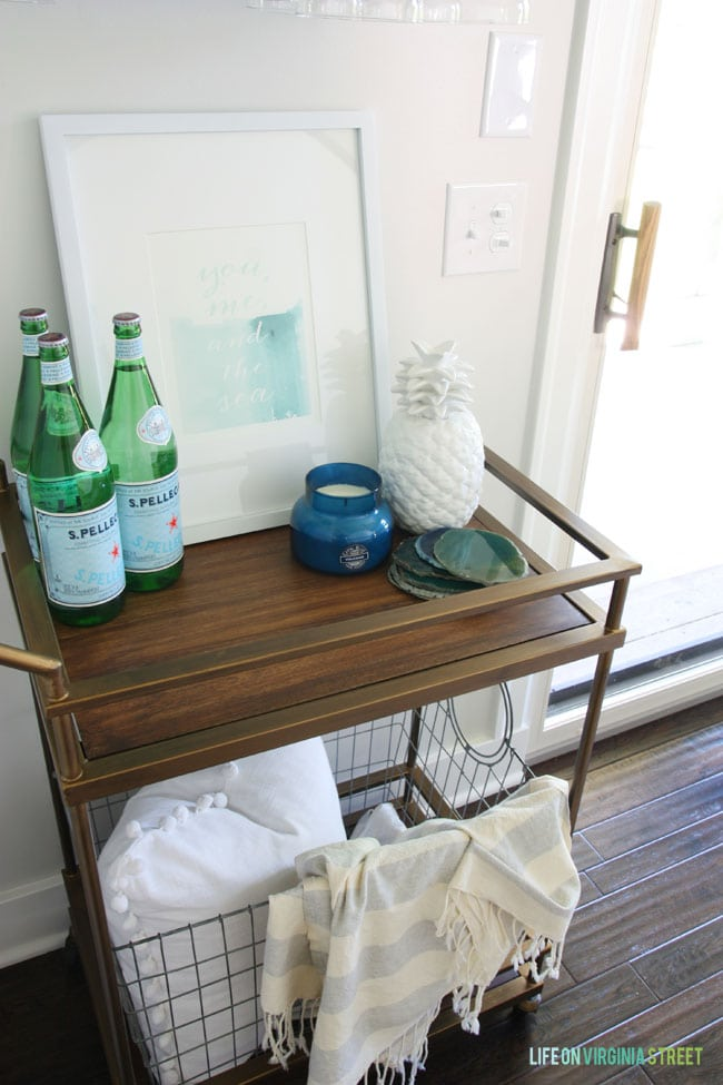 Cute dining room bar cart to accent the room makeover.