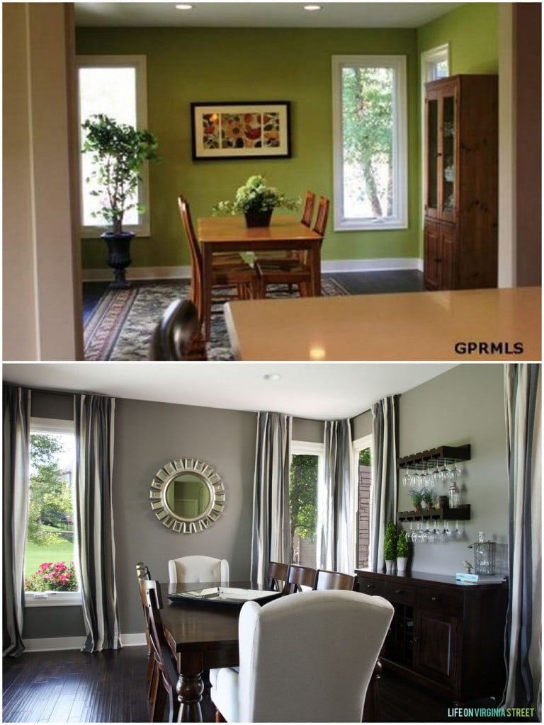 Check out this elegant dining room update with before and after shots.