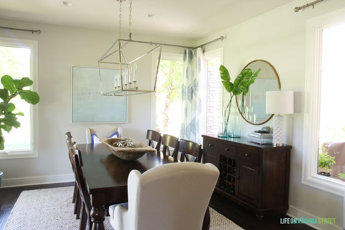 Dining Room with Behr Silver Drop walls and blue and white accents