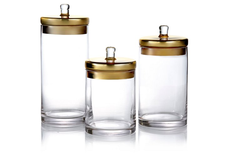 Glass Canisters with Gold Lids