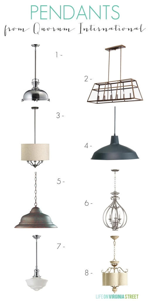 A collection of Bellacor Lighting pendant options.