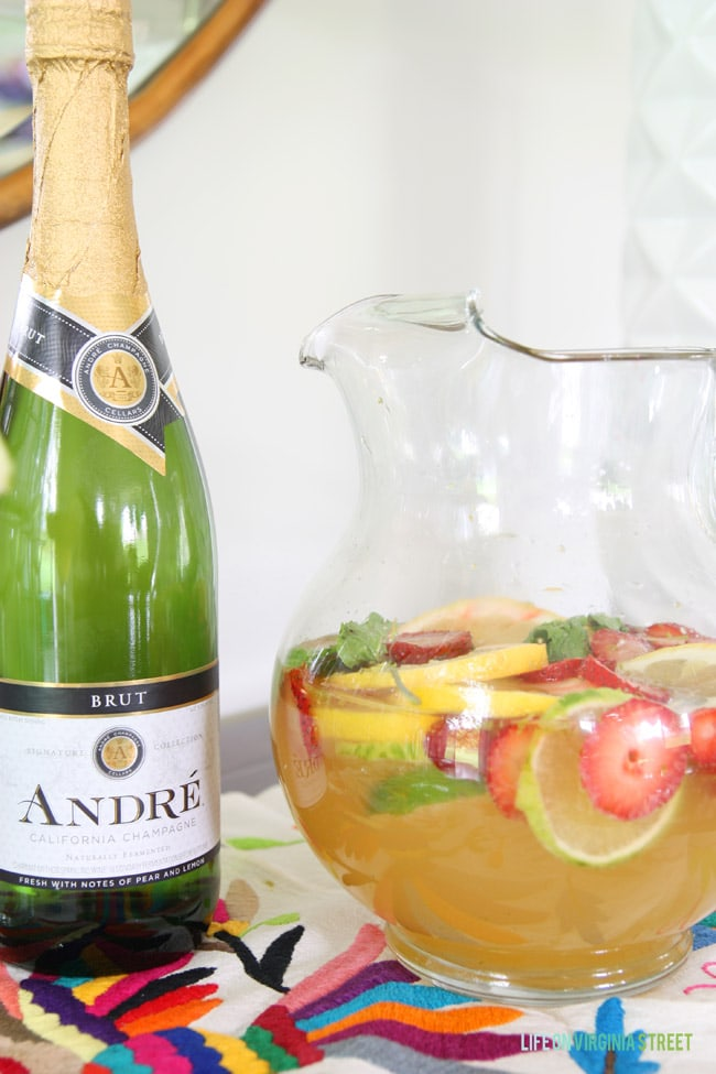 Champagne Sangria made with Andre brut champagne.