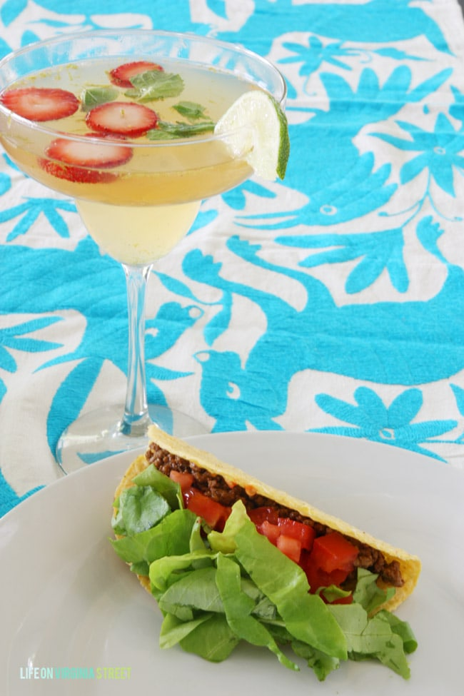 Our tacos were simple and homemade but still delicious with this Champagne Sangria! - Life On Virginia Street