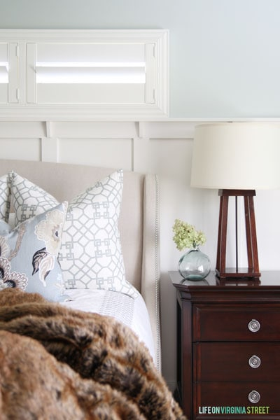 This mixed throw pillow patterns are on our guest bed. - Life On Virginia Street - Master Bedroom