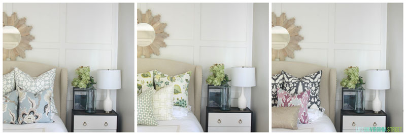 Changing the throw pillows on the bed has a huge impact. It's a simple way to change up the color scheme.