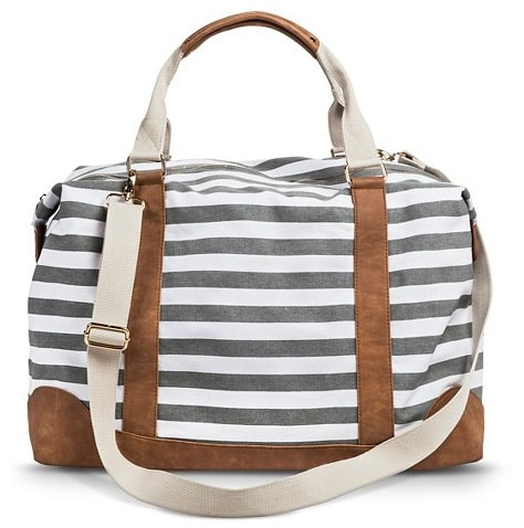 Gray and White Striped Weekender Bag