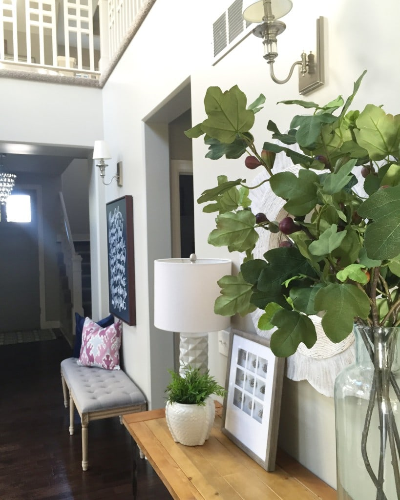 Faux Fig Leaves in the Entryway
